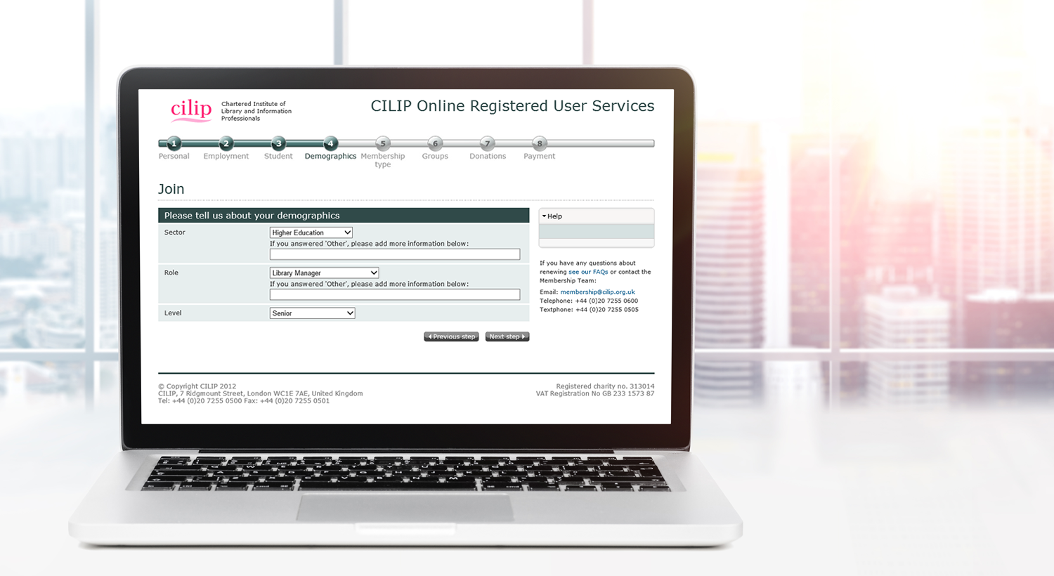 Membership registration, renewal and payment system for Cilip